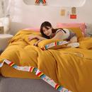 泽西家纺 2021新款40S长绒棉100全棉彩虹刺绣拼接款纯棉四件套 (1.2米床为三件套)-彩虹姜黄