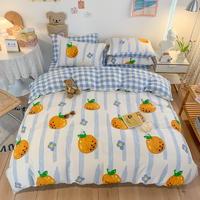 初暖 新品 2021新款纯棉文艺涂鸦绘画13372四件套 亲肤舒适纯棉小清新套件 适用床其他尺寸为中号被套180*220-南瓜生活