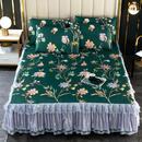 龙腾 新品 冰丝席床裙三件套 舒适凉爽蕾丝床裙款冰丝凉席三件套-花枝连理
