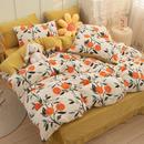欧尚家纺 2021新款牛奶绒加水晶绒印花四件套 牛奶绒四件套亲肤透气柔软舒适 套件(1.2米床为三件套)-甜橙